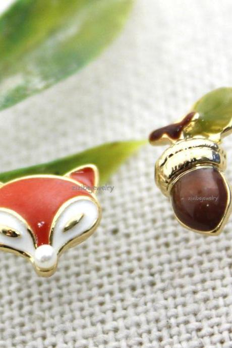 Cute Fox and acorn unballance Stud Earrings, E0284S