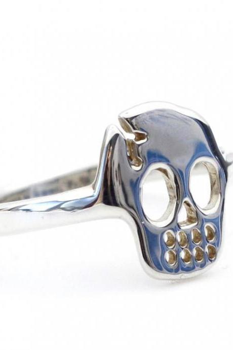 925 sterling silver cute skull face ring