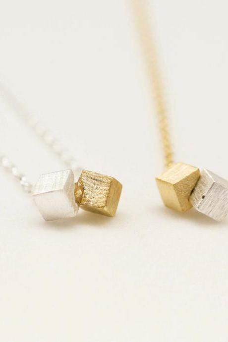 Gold and Silver Cube Block necklace in Gold/Silver - geometric jewelry