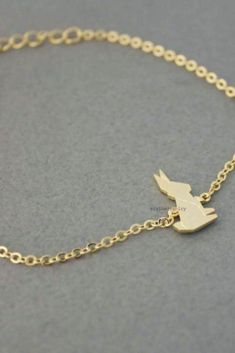 Cute Origami Rabbit Charm Bracelet in 2 colors, B0525G