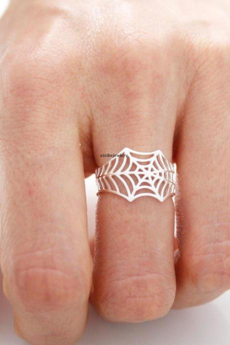 Cobweb, Spiderweb, Web statement adjustable Ring in Gold / Silver, R0441G