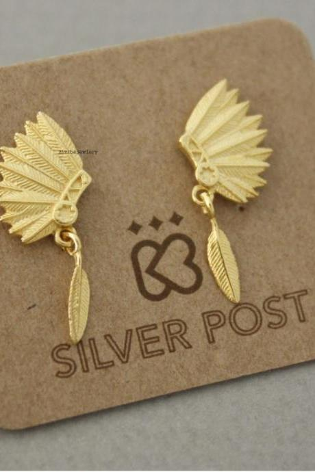 Indian Headdress with Feathers Boho earrings in 3 colors, E0632K