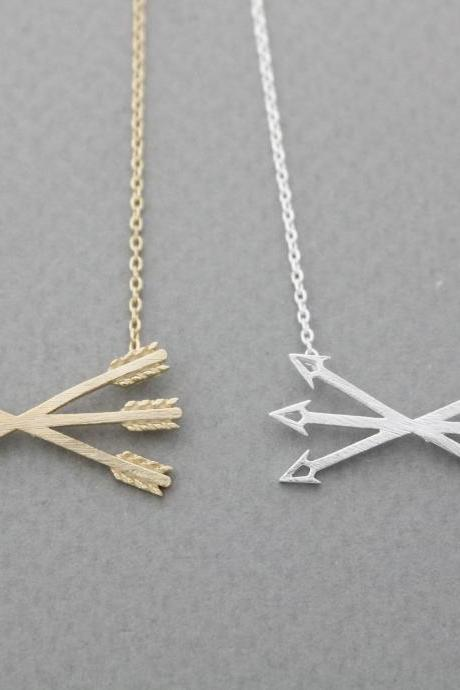 Piercing crossed X Arrow Necklace in gold silver, N0928G