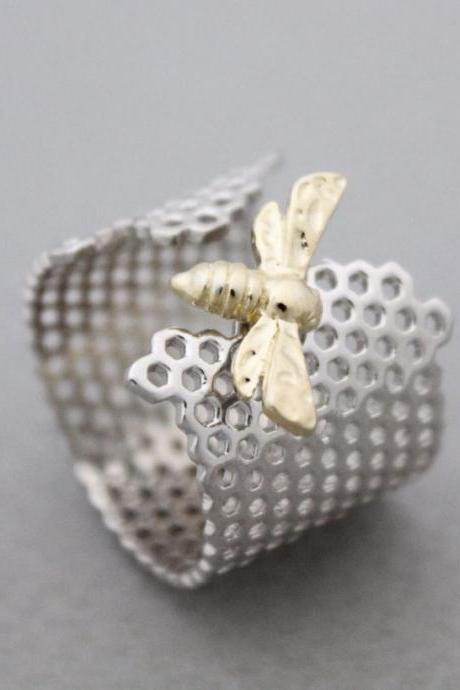 925 Sterling Silver Beautiful Honeycomb and Honey Bee Hexagon Geometric Adjustable Ring,R0929S