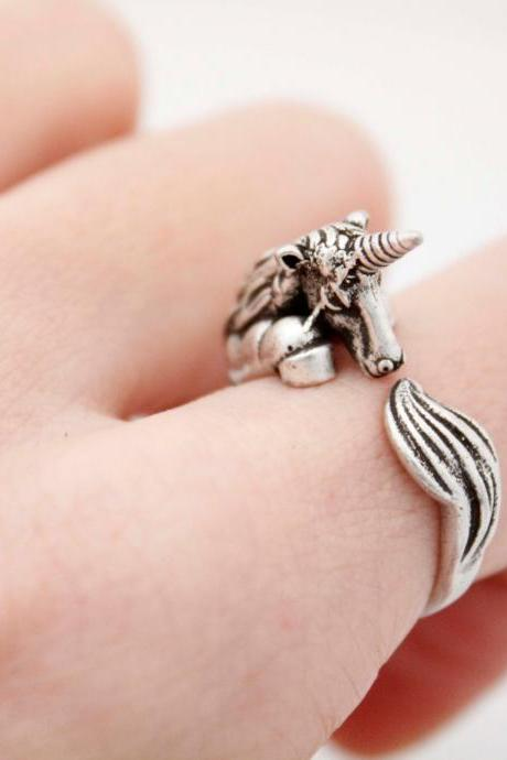 Cute Unicorn ring , animal wrap ring ,R1014S