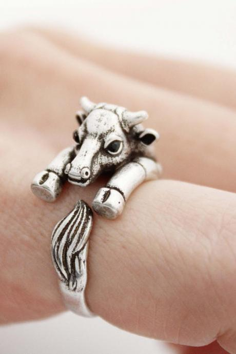 Cute Cow ring , Bull Ring , animal wrap ring ,R1015S