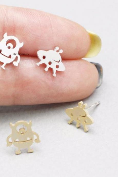 cute and unique Mike Monster and UFO, Alien post earrings in 2 colors, E0796S