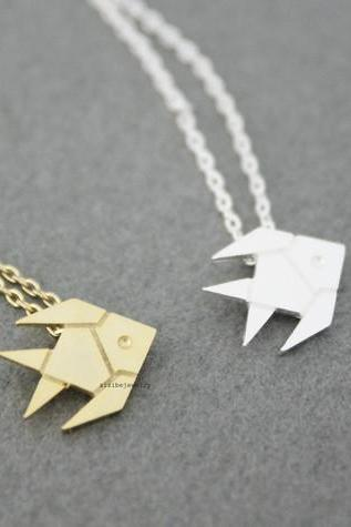 Cute Origami Tropical Fish, Gold Fish necklace in 2 colors, N0537G