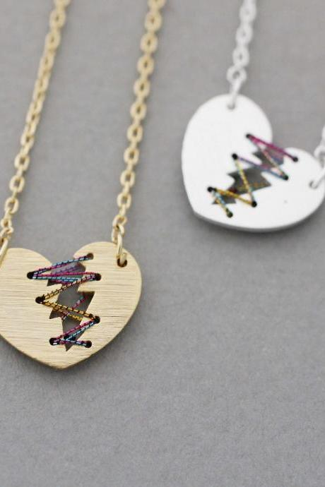 Silver or Gold Mended Broken Heart Necklace with Colour Thread