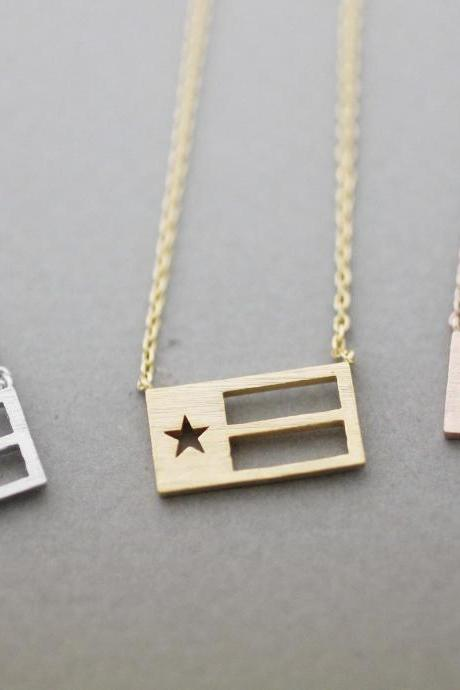 Texas (TX) necklace, Texas flag necklace, Texas flag, N1048K