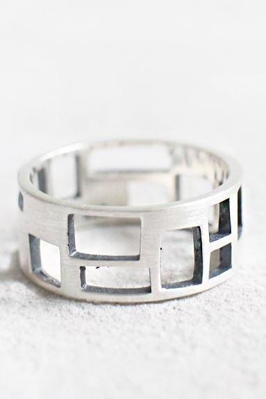 925 Sterling Silver Cut Out Square geometry thick band Ring