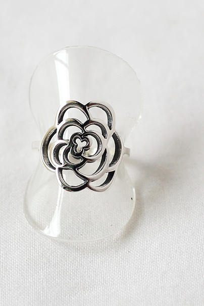 925 sterling silver Cut Out Rose Flower Ring, flower rose statement ring