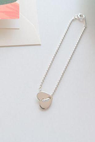 925 Sterling Silver Heart button bracelet