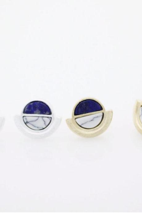 Circle Gemstone Lapis Lazuli and White Howlite mixed Stud Earrings in Gold Silver