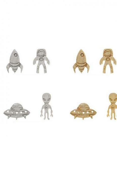 Astronaut and Rocket / Alien and UFO post earrings in 3 colors