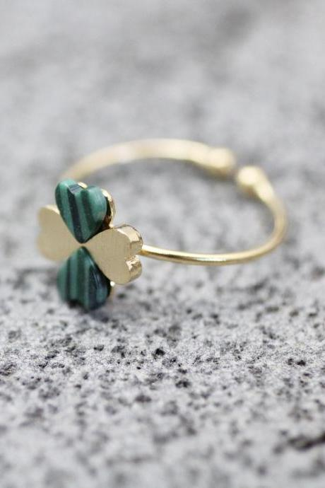 Four Leaf Clover Adjustable Ring with Malachite Gemstone