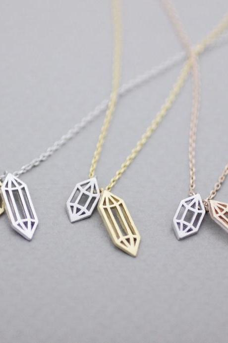 Cut-Out Diamond shape necklace, Crystal Shape Necklace, Rock Crystal Necklace