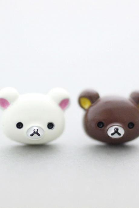 Cute Rilakkuma and Korilakkuma Unbalance earrings, Cute Character Earrings ,Bear earrings