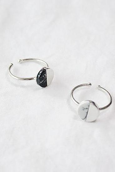 925 Sterling Silver Howlite Circle Disc Adjustable Ring ,Marble Stone Ring, Gemstone Ring