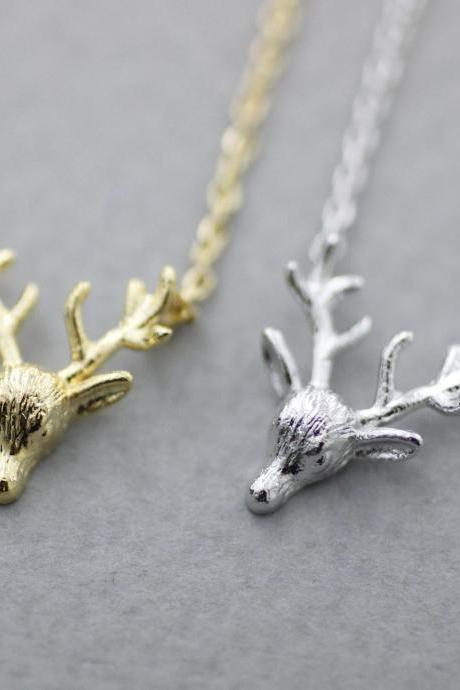 Antler, Elk Deer ,Deer head, Stag ,Reindeer Pendant Necklace in 2 colors