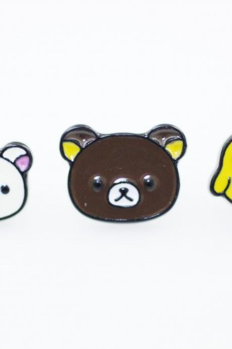 Cute Rilakkuma and Korilakkuma Set of 3 Unbalance earrings, Cute Character Earrings ,Bear earrings