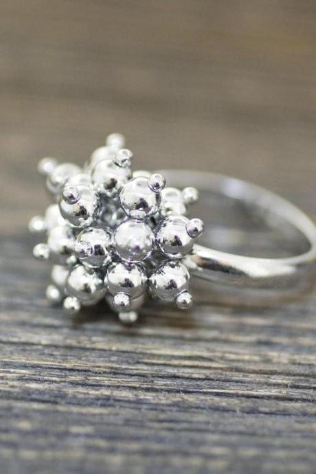 925 Sterling Silver Bunch of Tiny Balls dangle Statement Ring