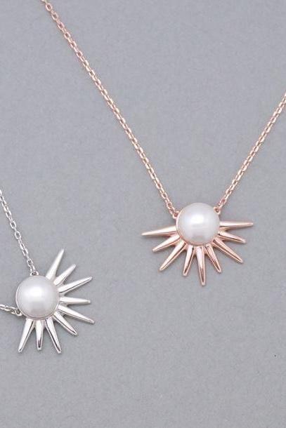 925 Sterling Silver Pearl and Spikes Necklace ,Starburst Necklace,Pearl Spike Punk Necklace
