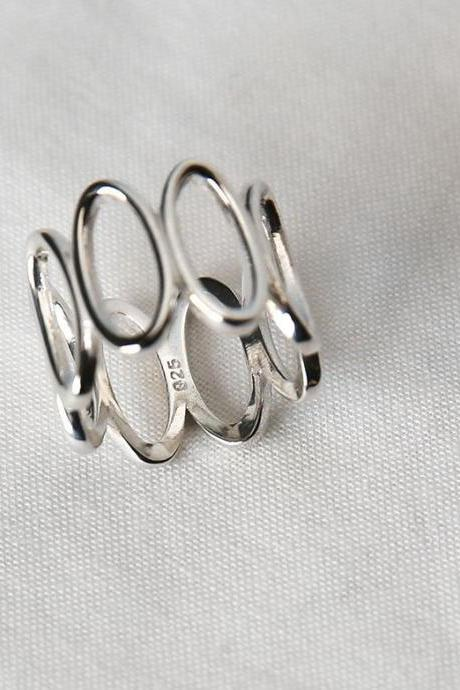 925 sterling silver Cut Out Long Oval Band Statement Ring