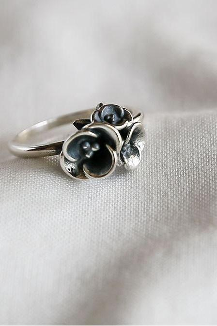 925 sterling silver Vintage Blossom Flowers Bouquet Ring, flower bouquet ring