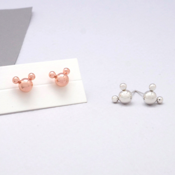 925 Sterling Silver Tiny Mickey Mouse Face Earrings, Tiny Mickey Mouse stud Earrings