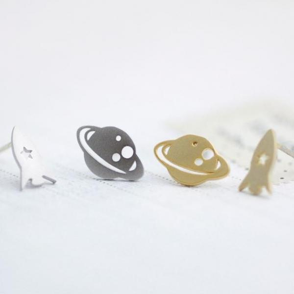 cute and unique Planet and Rocket post earrings( gold /silver),E0093S