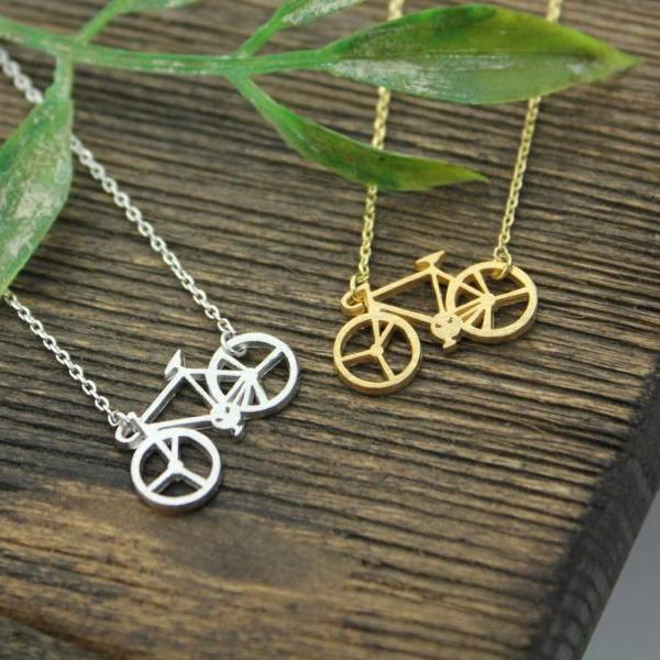 Bicycle necklace, Bike necklace pendant Necklace in 3 colors, N0234K
