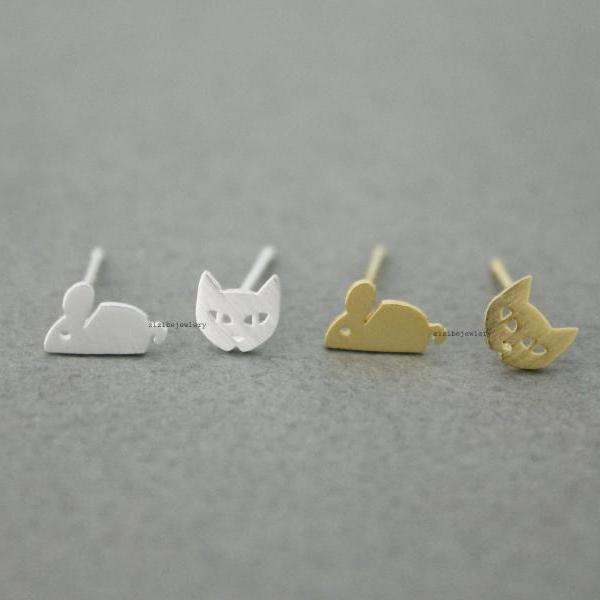 Cat and Mouse stud Earrings in 2 colors, E0556G