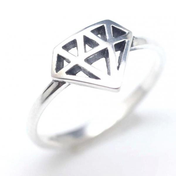 925 Sterling Silver Diamond Shape Cutout Ring
