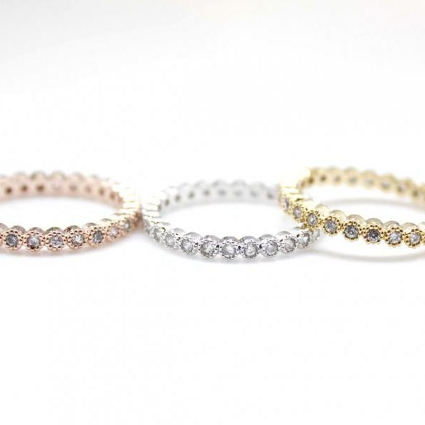 Single Swarovski setting ring band in 3 colors