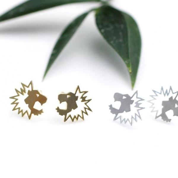 Cut-out Tiny Lion Earrings in 2 colors