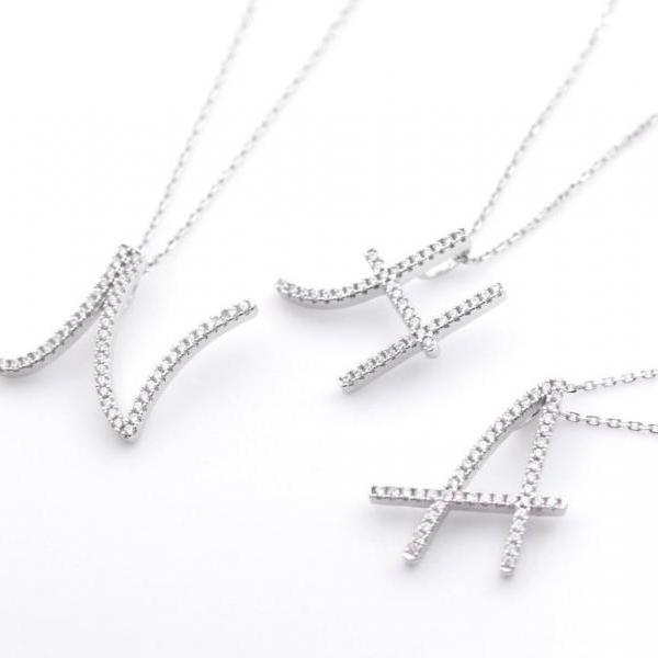 925 sterling silver Script Initial detailed with cubic zirconia Necklace -Choose your Initial