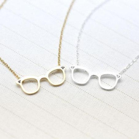 Cute Glasses charm Necklace detailed with CZ in Gold /Silver
