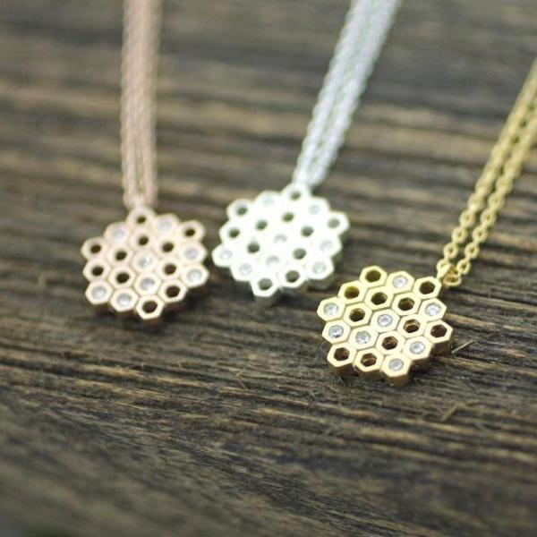 925 sterling silver Beautiful Honeycomb necklace detailed with CZ in 3 colors - geometric jewelry, N0174G
