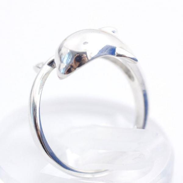 925 Sterling Silver Cute Dolphin Ring