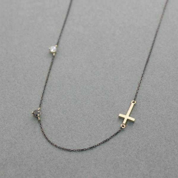 925 silver Tiny Sideways Cross pendant with swarovski stone necklace