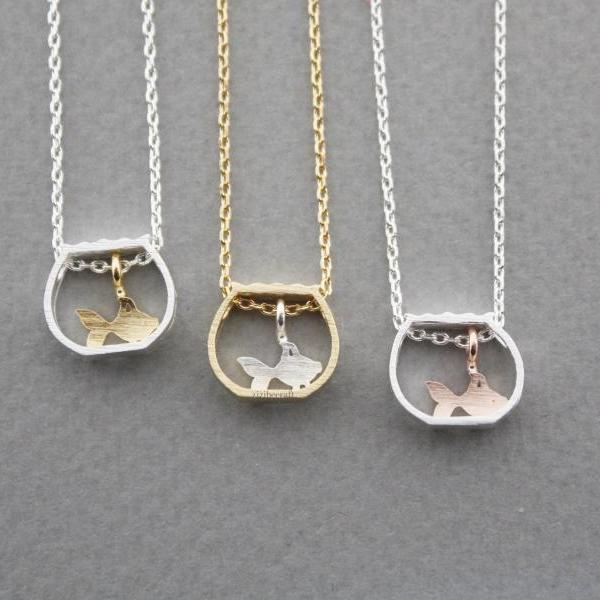 Gold Fish in a Fish Bowl Necklace in Silver, Gold or Rose Gold