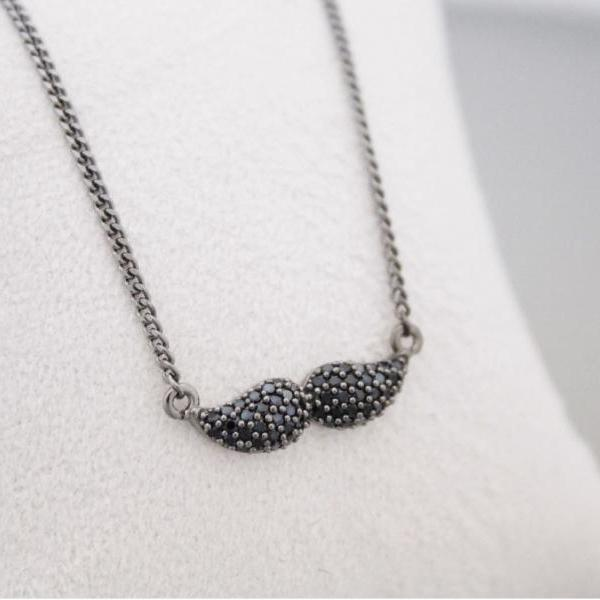 925 sterling silver Black Cubic Mustache pendant Necklace, N1001S