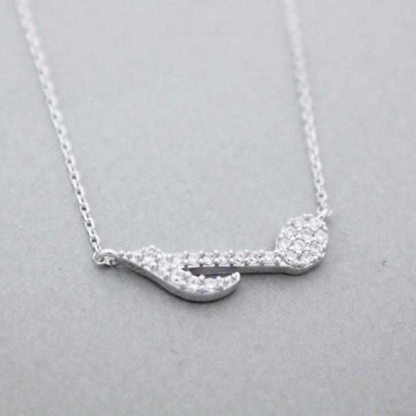 925 sterling silver Sideways cubic Musical Note pendant Necklace,N0972S