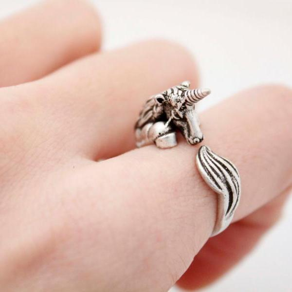 Unicorn Animal Ring Jewellery - Silver Alloy