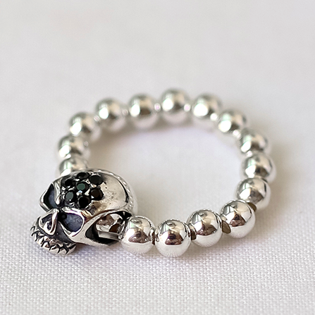 925 sterling silver Ball Bead and Skull charm Stretch Ring, rubber band Ring