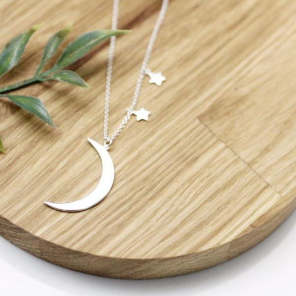925 sterling silver Skinny Crescent moon and Twinkle Stars Necklace