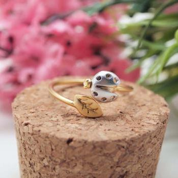 LadyBug and tiny leaf ring in gold Adjustable Ring